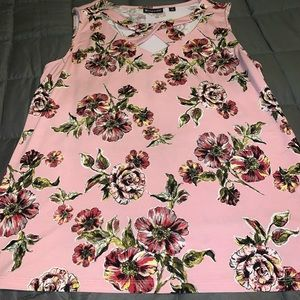Sleeveless dress top, Pink/Floral